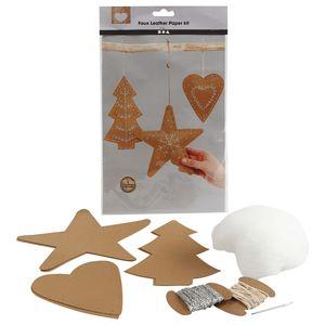 Vianočné ornamenty z umelej kože - 11 ks (umelá koža)